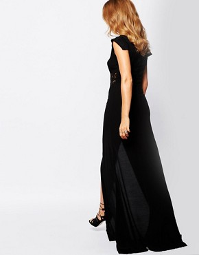 photo Button Through Maxi Dress in Black by Millie Mackintosh, color Black - Image 2