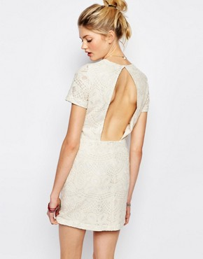photo Jaja Embroidered Dress with Cut Out by Sessun, color Cream - Image 1