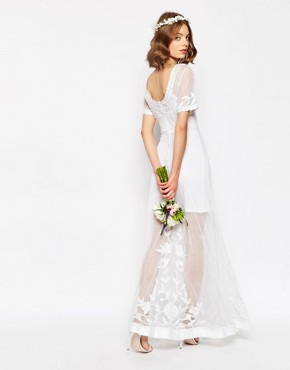 photo Delicate Lace and Pearl Maxi Dress by ASOS BRIDAL, color White - Image 2