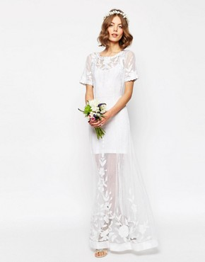photo Delicate Lace and Pearl Maxi Dress by ASOS BRIDAL, color White - Image 1