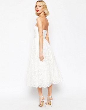 photo Lace Bandeau Midi Prom Dress with Crop Jacket by ASOS BRIDAL, color White - Image 2