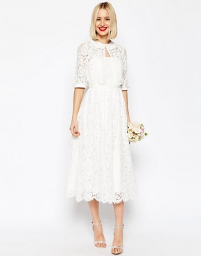photo Lace Bandeau Midi Prom Dress with Crop Jacket by ASOS BRIDAL, color White - Image 1