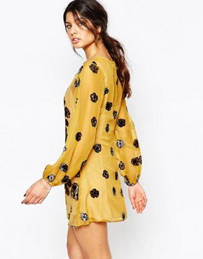 photo Sierra Mini Dress in Mustard by For Love and Lemons, color Mustard - Image 2