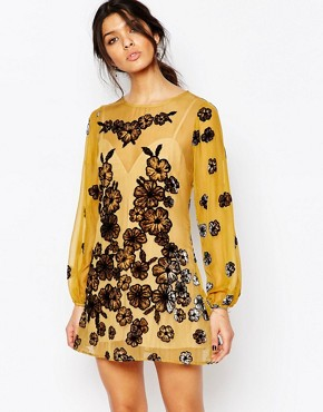 photo Sierra Mini Dress in Mustard by For Love and Lemons, color Mustard - Image 1