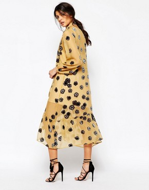 photo Sierra Scarf Midi Dress in Mustard by For Love and Lemons, color Mustard - Image 2