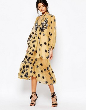 photo Sierra Scarf Midi Dress in Mustard by For Love and Lemons, color Mustard - Image 1