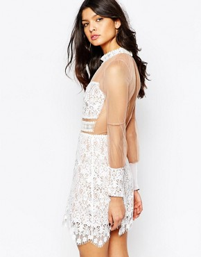 photo Vivian Mini Dress in Lace by For Love and Lemons, color Ivory - Image 2
