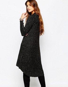 photo Plunge Neck Knitted Dress by Stitch & Pieces, color Black Marl - Image 2