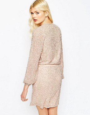 photo Pearl Cluster Long Sleeve Mini Dress by ASOS PREMIUM, color Nude - Image 2