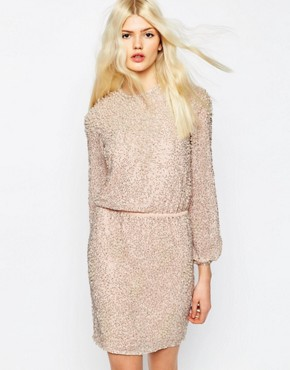 photo Pearl Cluster Long Sleeve Mini Dress by ASOS PREMIUM, color Nude - Image 1