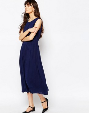 photo Cotton Midi Dress with Open Back by Paisie, color Navy - Image 2
