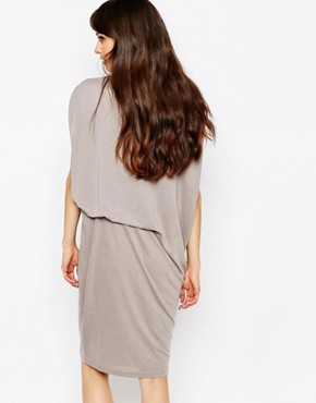 photo Jersey Dress with Asymmetric Side Tuck by Paisie, color Grey - Image 2