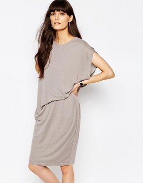 photo Jersey Dress with Asymmetric Side Tuck by Paisie, color Grey - Image 1