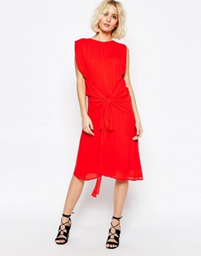 photo Multi Layer Dress with Tie Waist by Paisie, color Red - Image 1