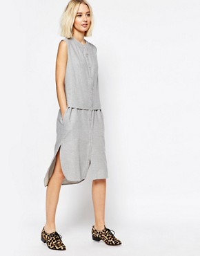 photo Sleeveless Shirt Dress by Paisie, color Light Grey - Image 1
