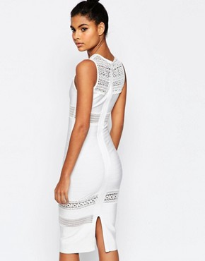 photo Bandage Mix and Match Lace Pencil Dress by ASOS SCULPT Premium, color White - Image 2