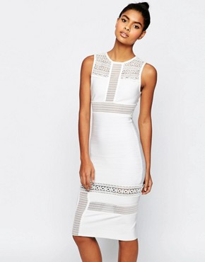 photo Bandage Mix and Match Lace Pencil Dress by ASOS SCULPT Premium, color White - Image 1