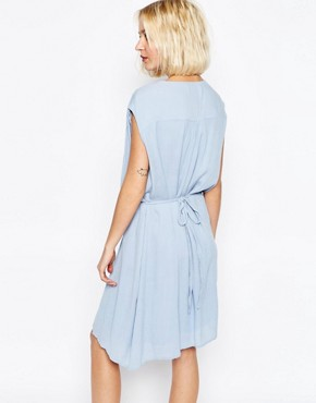 photo Drape Dress with Gathered Waist by Paisie, color Pale Blue - Image 2