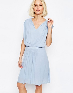 photo Drape Dress with Gathered Waist by Paisie, color Pale Blue - Image 1