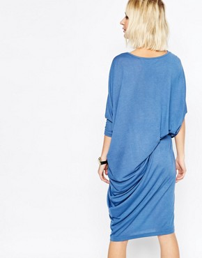 photo Jersey Midi Dress with Ruched Belt by Paisie, color Blue - Image 2