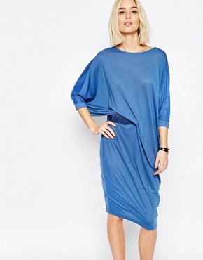 photo Jersey Midi Dress with Ruched Belt by Paisie, color Blue - Image 1