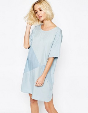 photo Two Tone Panel Dress with Button Back by Paisie, color Pale Blue - Image 2