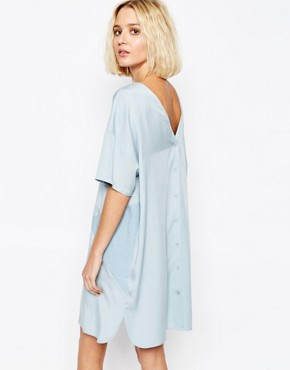 photo Two Tone Panel Dress with Button Back by Paisie, color Pale Blue - Image 1