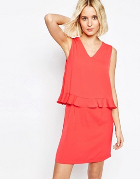 photo V Neck Dress with Ruffle Trim by Paisie, color Strawberry - Image 1