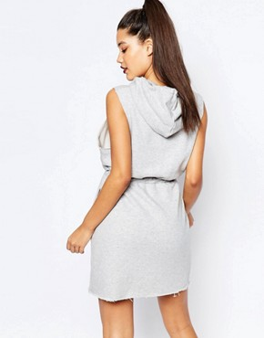 photo Sweat Dress with Raw Edge Sleeves and Logo Detail by Nicce London, color Grey - Image 2