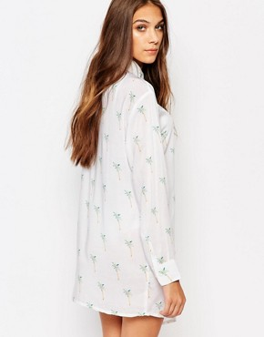 photo Shirt Dress in Palm Print by Nicce London, color White/Multi - Image 2
