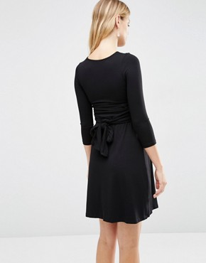 photo Wrap Front Nursing Dress with Tie Waist by Isabella Oliver, color Black - Image 2
