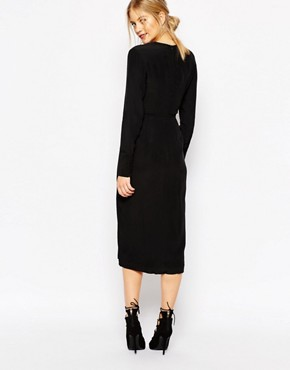photo Bedroom Wall Longsleeve Dress in Black by C/meo Collective, color Black - Image 2