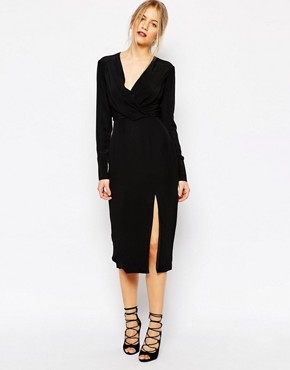 photo Bedroom Wall Longsleeve Dress in Black by C/meo Collective, color Black - Image 1