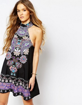photo Purple Haze Placement Print High Neck Shift Dress by Kiss The Sky, color Multi - Image 1