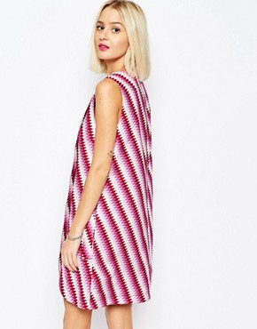 photo Sleeveless Wrap Dress in Graphic Print by House of Holland, color Pink Multi - Image 2