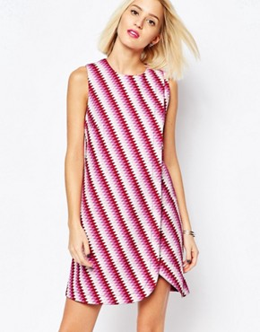 photo Sleeveless Wrap Dress in Graphic Print by House of Holland, color Pink Multi - Image 1