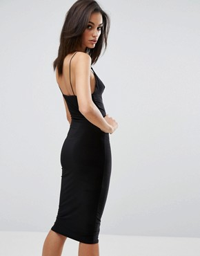 photo Midi Dress with Cami Strap by Club L, color Black - Image 2