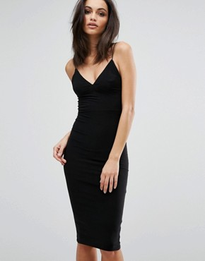 photo Midi Dress with Cami Strap by Club L, color Black - Image 1