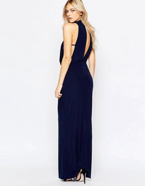 photo High Neck Draped Maxi Dress by Love, color Navy - Image 2