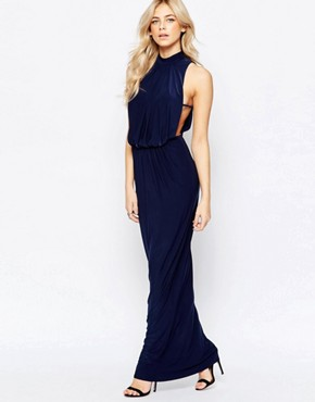 photo High Neck Draped Maxi Dress by Love, color Navy - Image 1