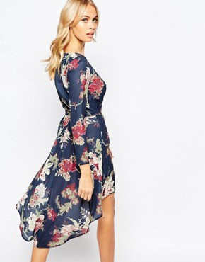 photo High Low Dress with Deep Plunge Front by Love, color Navy Floral - Image 2