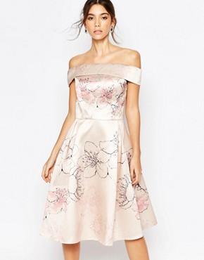 photo Off shoulder Midi Dress in Allover Cherry Blossom by Chi Chi London, color Multi Nude Floral - Image 1