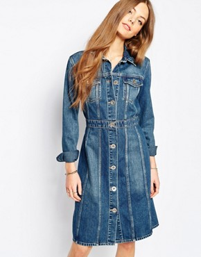 photo Jeans Button Front Fitted Denim Dress by MiH Jeans, color Blue - Image 2