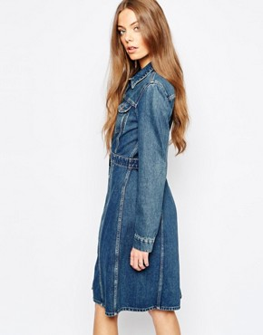 photo Jeans Button Front Fitted Denim Dress by MiH Jeans, color Blue - Image 1