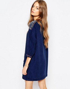 photo Jeans Denim Tunic Dress with Embroidery by MiH Jeans, color Blue - Image 2