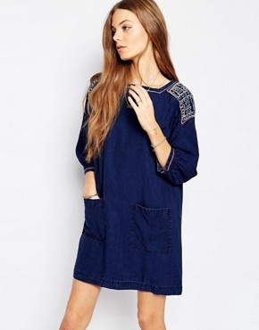 photo Jeans Denim Tunic Dress with Embroidery by MiH Jeans, color Blue - Image 1