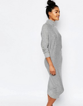 photo Roll Neck Jumper Dress by Stitch & Pieces, color Light Grey - Image 1