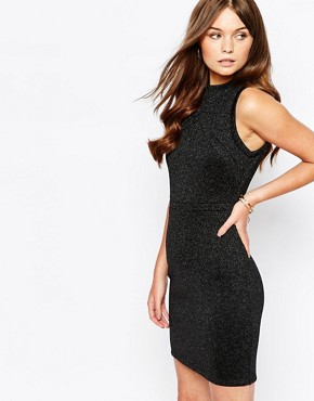photo Metallic Bodycon Dress with High Neck by First & I, color Black - Image 1