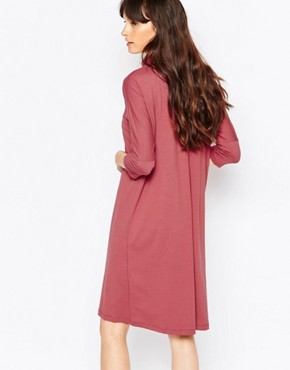 photo High Neck Jersey Dress in Deep Pink by Just Female, color Pink - Image 2