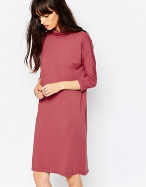 photo High Neck Jersey Dress in Deep Pink by Just Female, color Pink - Image 1
